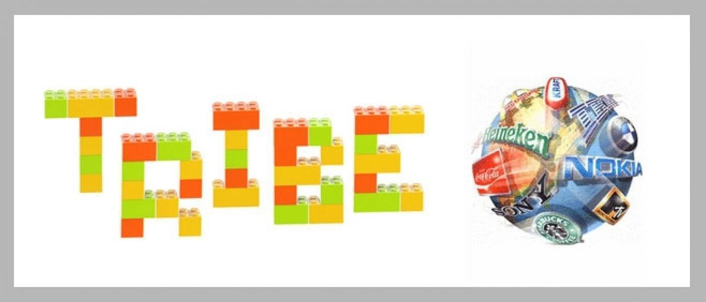 'Tribe' written in lego blocks with a sphere of brands beside it