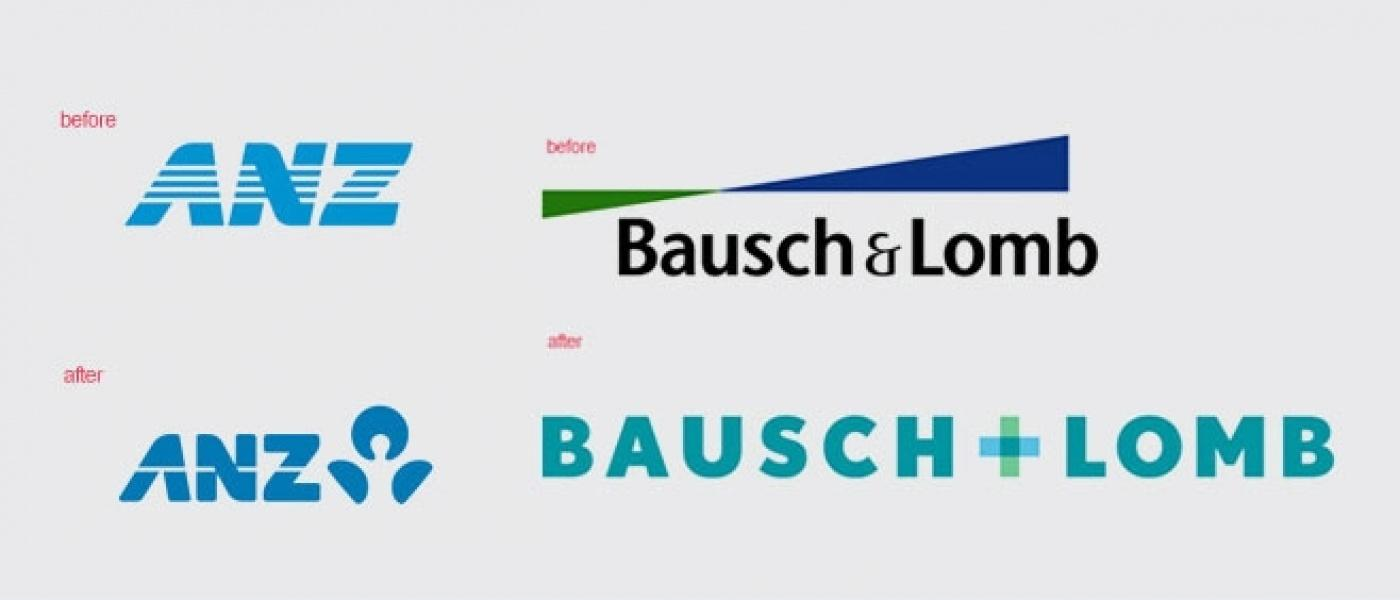 ANZ and Bausch and Lomb logos, before and after their rebrands