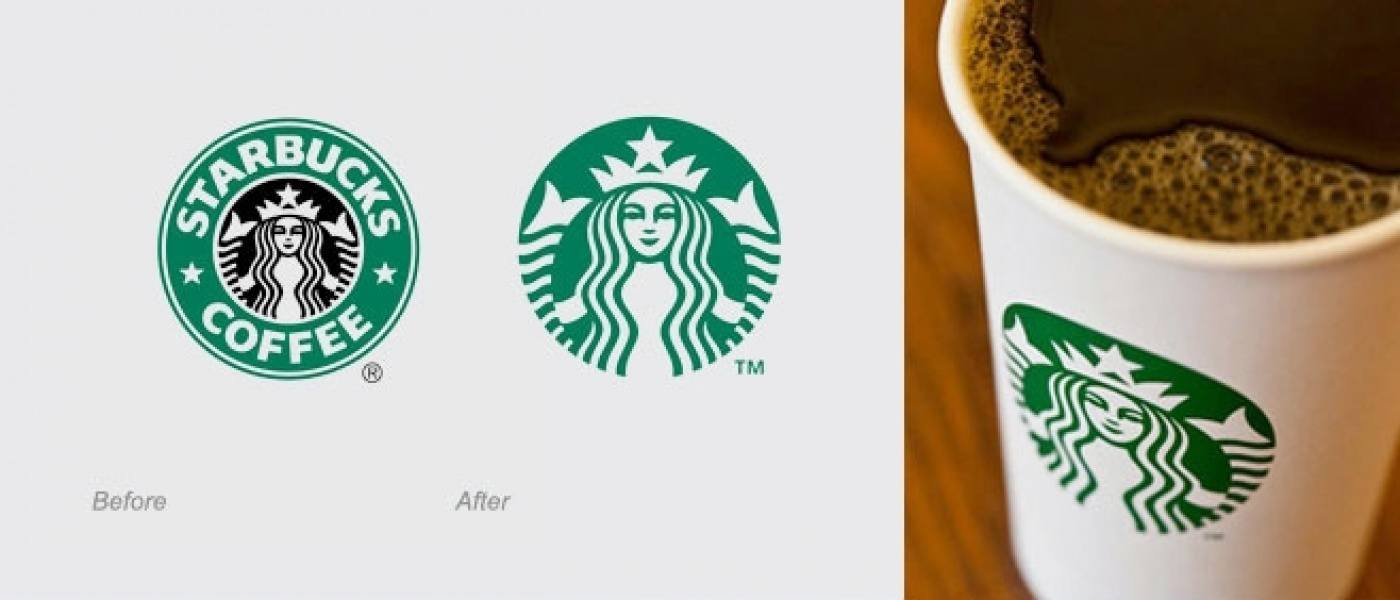 Starbucks new and old logos