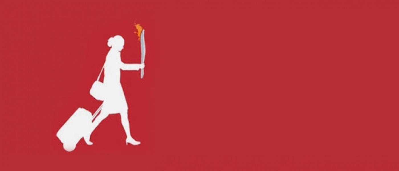 Silhouette of business woman holding olympic torch