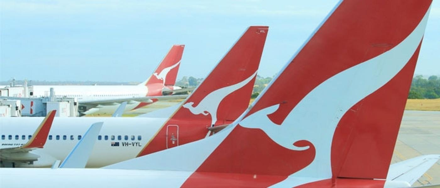 Qantas planes lined up