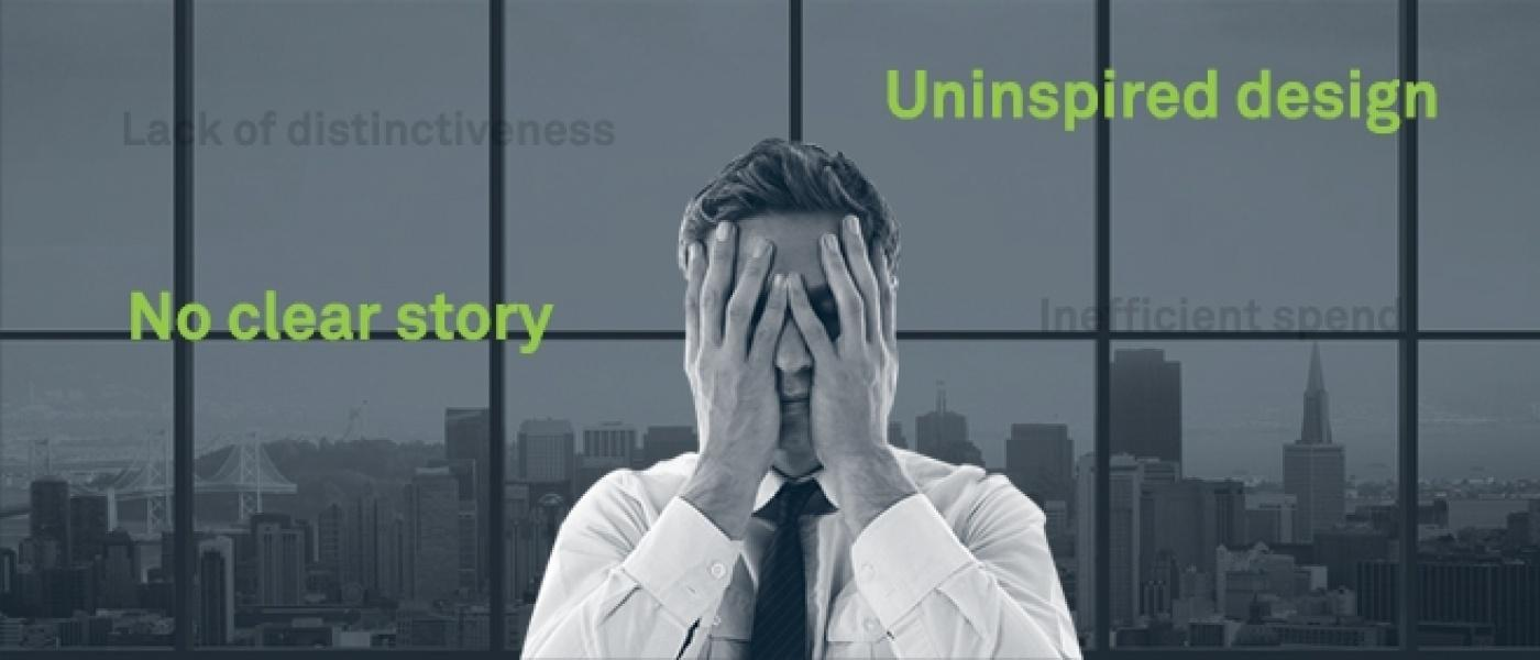 Overwhelmed CEO with 'no clear story' and 'uninspired design' written behind him